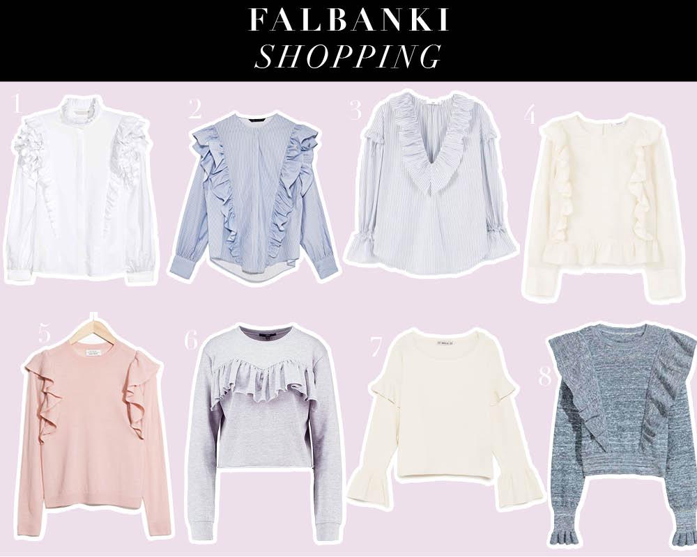 Falbanki przy koszulach i swetrach – trend