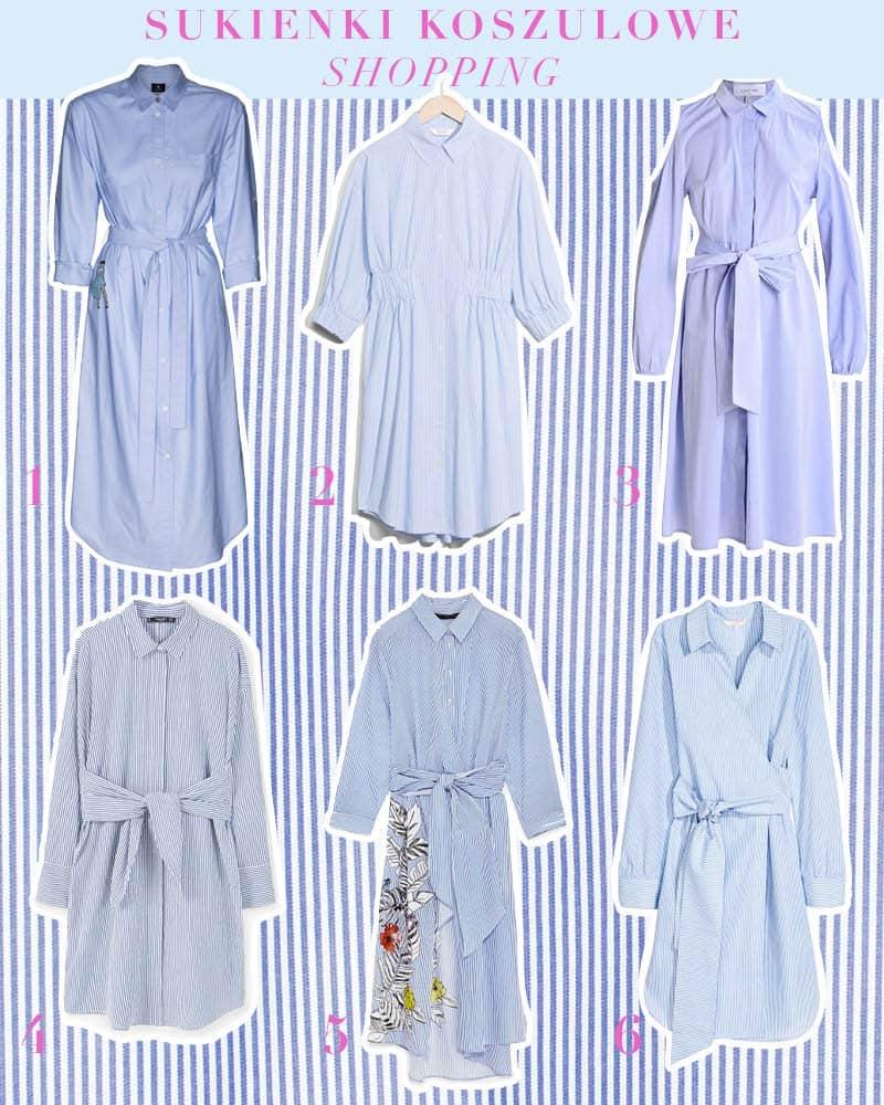 shopping kup online sukienka koszulowa błękitna trend na wiosnę