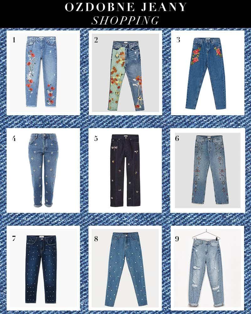 jeansy z perlami, haftem i koralikami