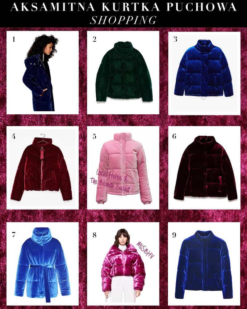 Aksamitna kurtka puchowa – trend na zimę